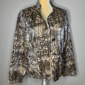 Chicos Snake Print Button Down Jacket 1 Medium